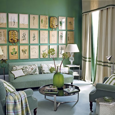 living room_vintage framed botanicals wall art grouping green ticking velvet ivory silver traditional eclectic sage mint apple stripes banded curtains_house to home