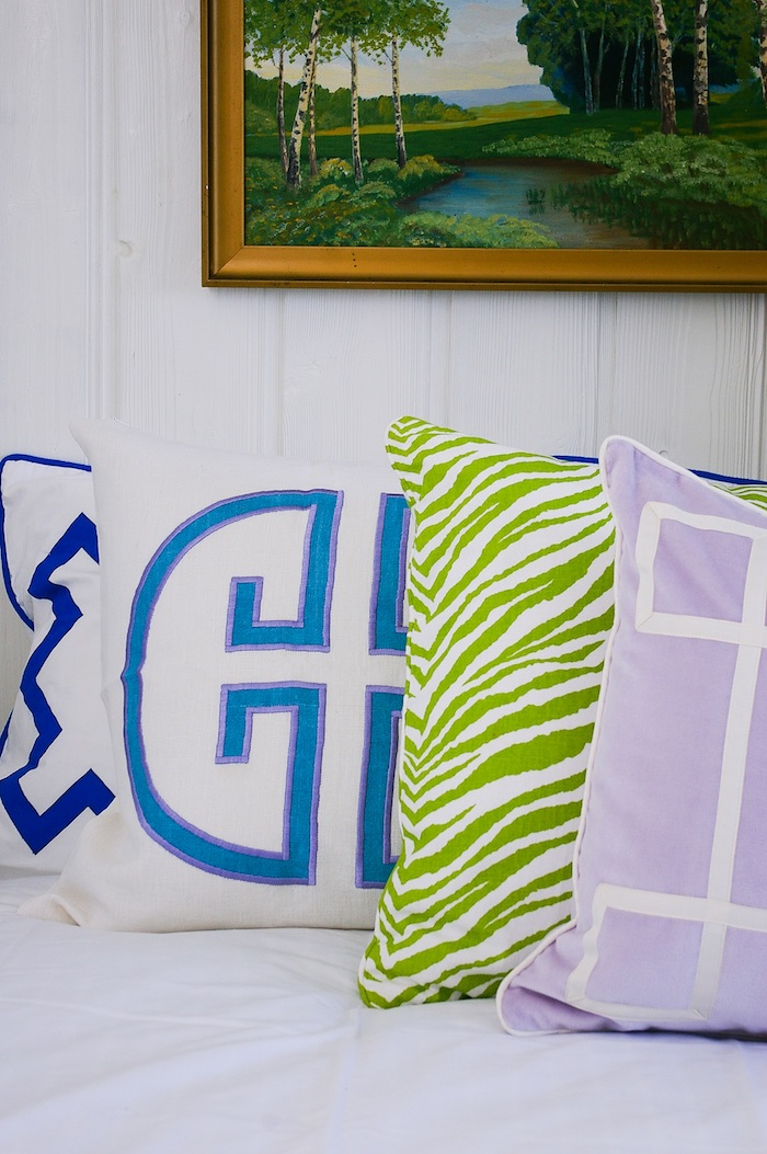 Monogram pillow Jill sorensen