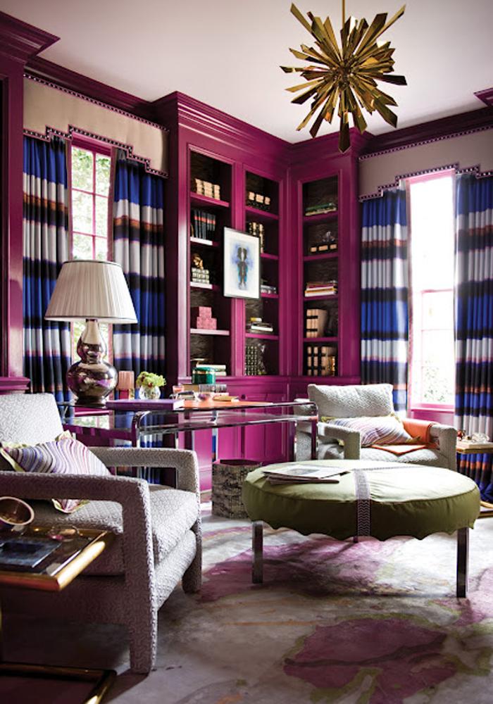 cool-lovable-interior-design-library-office-pink-fuschia-magenta-bookshelves-duquette-sunburst