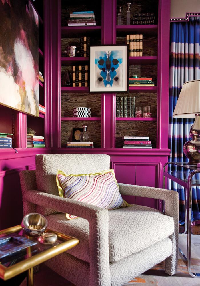 interior-design-library-office-pink-fuschia-magenta-bookshelves-2