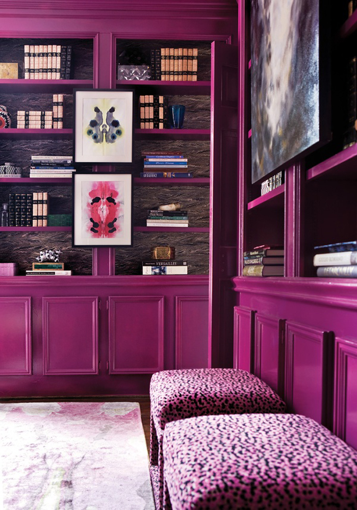 sexy space saturday magenta office library bookshelves