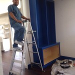 Out cobalt blue bookcases are finally installed.