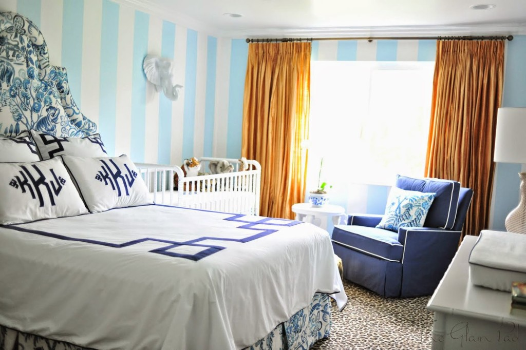 blue-white-striped-nursery-glider-monogrammed-bedding-gold-silk-drapes-leopard-rug-congo-clarence-house-palm-beach-regency-hollywood-white-faux-taxidermy-elephant