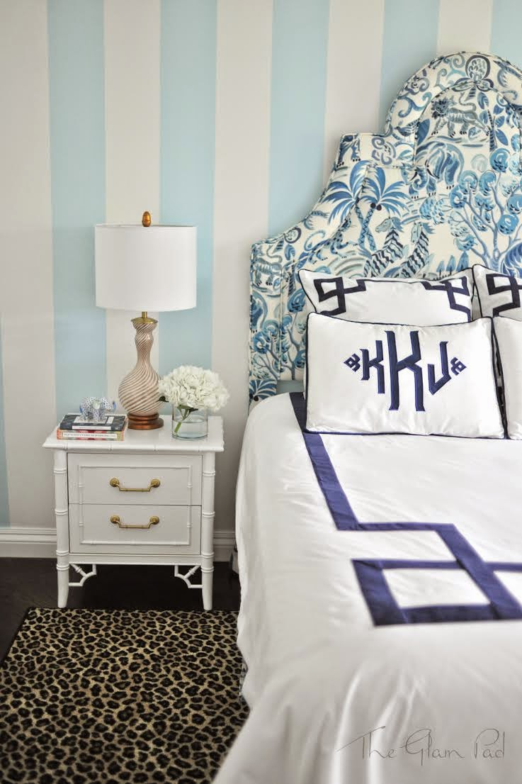 monogrammed-bedding-applique-navy-white-congo-clarence-house-leopard-rug-vintage-murano-lamp-blue-white-striped-nursery-boy-room-faux-bamboo-thomasville