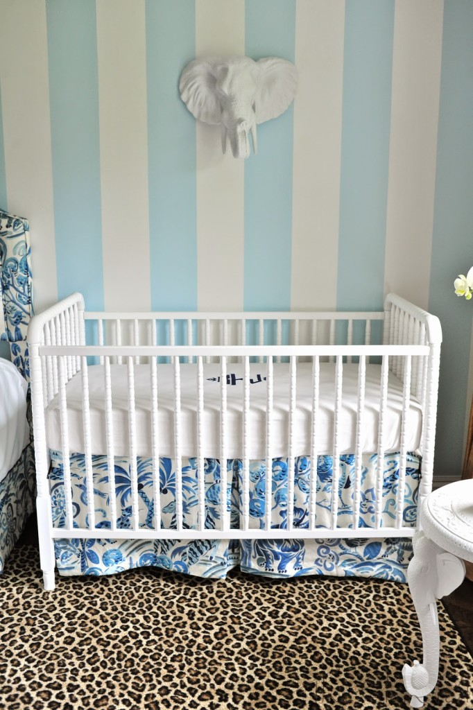 blue-white-crib-nursery-white-faux-taxidermy-elephant-tolsby-clarence-house-congo-fabric-leopard-rug-side-table