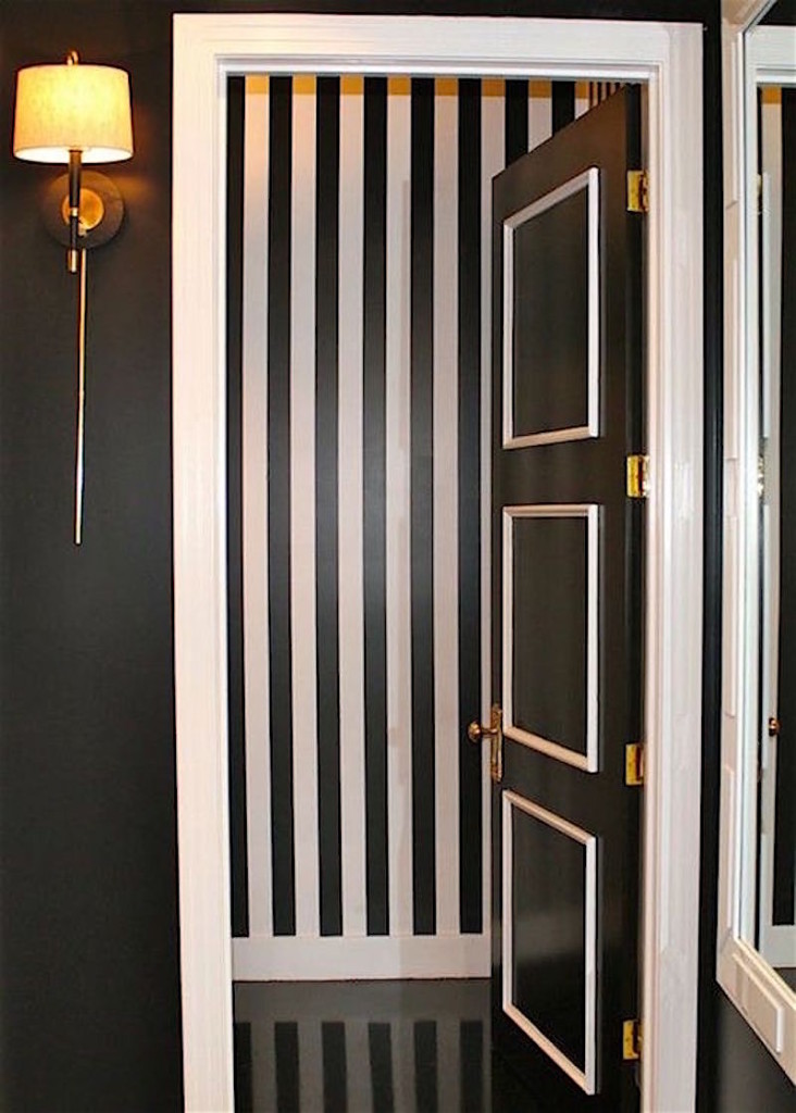 black-and-white-powder-room-black-and-white-vertical-striped-walls